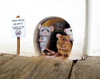 No Cats! Scaredy Mice Mousehole Wall Sticker