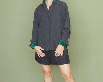 Womens shirt Vintage wool grey shirt Oversized top Womens blazer Grey Grass green Microvelvet Top shirt Long sleeves shert Button up blause