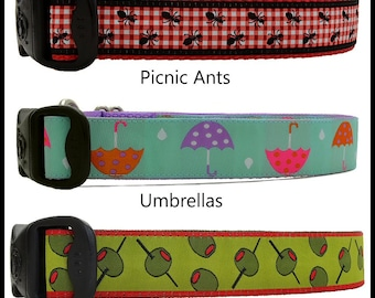 Picnic Ants Dog Collars, Polka Dot Spring Umbrella Dog Collars, Retro Olive Martini Dog Collars