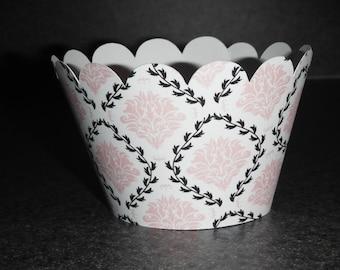Wedding Cupcake Wrappers Pink and Black Wedding Celebration