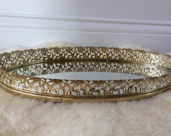 vintage gold  plated filigree mirror / vanity tray