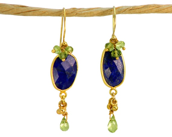 August Birthstone Jewelry. Lapis Lazuli Earrings with Peridot Clusters. Indigo.