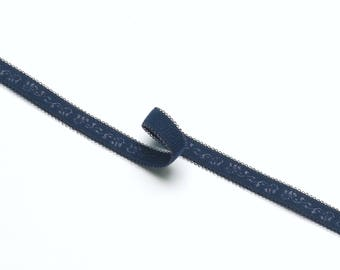 1 m of 10mm Navy Blue Bra Strap Elastic with Ornament Detail and Picot Edge