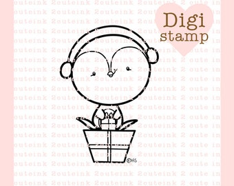 Penguin Gifts Digital Stamp for Card Making, Paper Crafts, Scrapbooking, Hand Embroidery, Invitations, Stickers, Coloring Pages