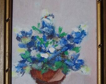 1973 Miniature Floral Still Life, Blue Bonnets, Texas Flowers, Flower Pot, Flower Vase, Blue Flowers painting, Signed JBB