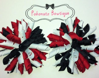 Hair Bow,  Korker Hair Bow Set, Red Black And White  Hair Bows,Korker Hair Bow Set