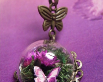 Butterfly Necklace, Glass Dome Mini Terrarium with Flowers, Moss and Butterfly Necklace, Fuchsia, Purple Butterfly, Glass Necklace