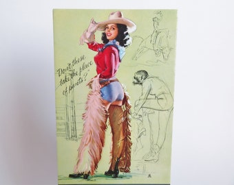 Vintage Advertising Ink Blotter, K O Munson Vintage Pin Up Cowgirl, Calendar Girl Pinup, 1950s Pinup Art, Glamour Girl Advertising Ephemera
