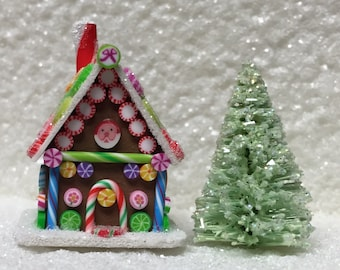 Dollhouse Miniature Fabulous Gingerbread House - Polymer Clay - Blythe - Cut Rock Candy - Old Fashioned