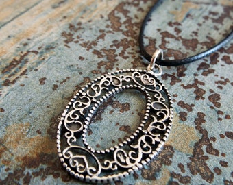 Silver Pendant Floral Flower Heart Handmade Sterling 925 Antique Vintage Necklace Filigree Jewelry