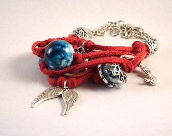 Multi-strand Red Suede Charm Bracelet