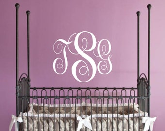 Monogram Decal Children Wall Decal - Nursery Wall Decal Monogram Vinyl - Vinyl Lettering, Vinyl Wall art