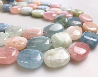 "Morganite Smooth Oval Gemstone Loose Beads Size 10x14/13x18/15x20mm Approx 15.5"" per Strand"