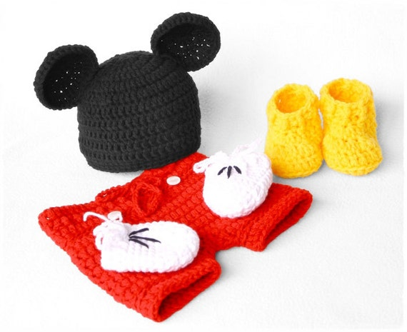 Tutorial Amigurumi Mickey Mouse : Mickey mouse newborn photography prop set crochet mickey mouse