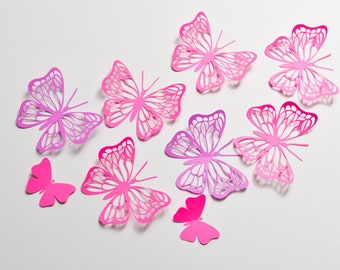 12 Large Butterfly Wall Art, 3D Wall Decor, Butterfly Party Decoration, Paper Butterflies, Butterfly Wall Decal