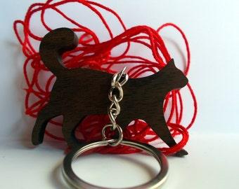 Wooden Cat Keychain, Walnut Wood, Animal Keychain, Environmental Friendly Green materials