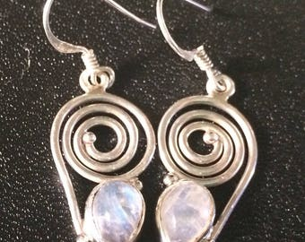 Rainbow Moonstone Sterling Silver earrings / Swirl Earrings / Moonstone