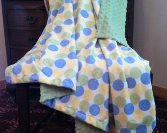 Minky Crib Blanket, Blue and Green Polka Dot Blanket,Baby Girl Blanket, Baby Boy Blanket, Gender Neutral. Crib Size 36 x 45