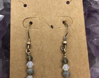 Labradorite and Swarovski crystals earrings