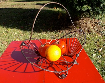 Black Wrought Iron Art Nouveau Fruit Basket Geometric Pattern of Curved Metal Storage Display Country Kitchen 1940s 50s