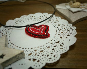 Large heart necklace Red crystal heart Large heart pendant Big heart necklace Red heart necklace For-girlfriend Real unique gifts