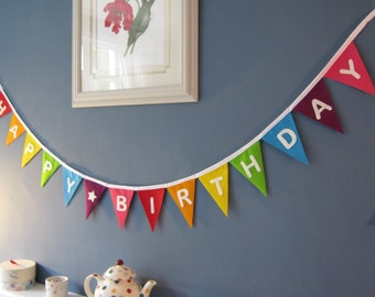 Custom Personalised Felt Rainbow Bunting Banner Garland Priced Per Flag Can Be Used With Rainbow Happy Birthday Bunting