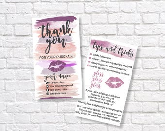 LIPSENSE THANK YOU card - SeneGence tips and tricks card -LipSense tips and tricks- LipSense Distributor - makeup swatches thank you card
