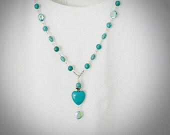 Gemstone Bohemian Heart Necklace. Turquoise Magnesite & Mother of Pearl. Optional Matching Earrings. Boho Jewelry