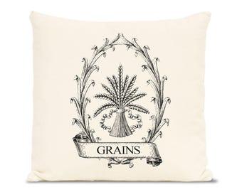 farmhouse pillows, farmhouse decor, cotton pillow, Home Decor Throw Pillows, Vintage Prints, grains, wheat, food