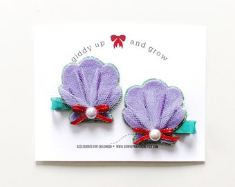 Felt Hair Clip, Pigtail Bows, The Little Mermaid Ariel, giddyupandgrow