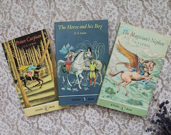 Vintage UK edition 1975 Chronicles of Narnia books, C. S. Lewis, set of 3