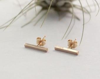 Gold Bar Stud Earring, 14K Gold Filled, Short Squre Bar, 12.5x2.5mm