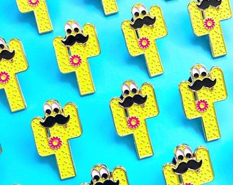 Cactus Enamel Pin with a Moustache & Googly Eyes | In Cognito Enamel Pin | Cacti Enamel Pin Badge | Kawaii Pins | Funny Enamel Pin