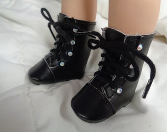 Black  Doll  Boots for 14 Inch Dolls- Fits Wellie Wishers -Les Cheries and Hearts 4 Hearts Dolls