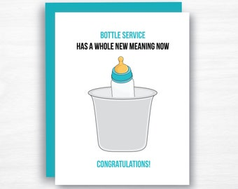 Funny Baby Shower Card  - Funny Pregnancy Card - Funny Baby Card - Funny New Baby Card - Bottle Service Baby Card