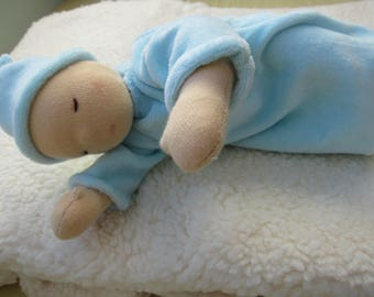 Sleeping baby doll in pink or blue, Mathias or Mia personalized with birth data OOAK, Baby Shower, Baby Brother, Baby Sister