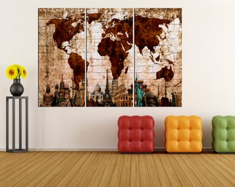 World map wall art large wall decor extra large wall art large world map canvas print wall art large wall art wonders of the world gumiabroncs Images