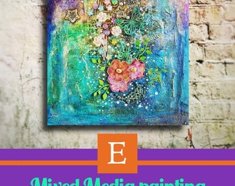 Mixed media painting - original artwork - acrylic painting - colourful opulent floral design - textured and leyered