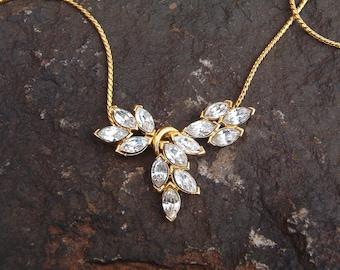 Vintage Trifari Gold Rhinestone Necklace, Necklace, Rhinestone Necklace, Gold Necklace, Trifari Jewelry, Trifari Necklace, Gold Chain