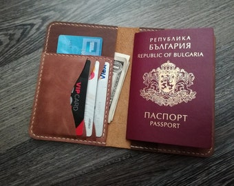 Leather passport cover with cardholder Personalized Passport wallet Passport holder Travel wallet Passport and cash Passport Cover
