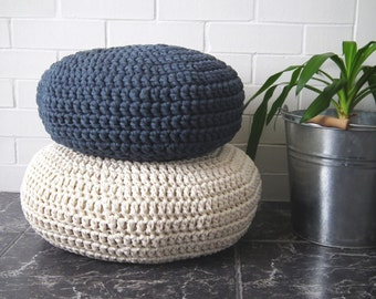 Crochet Floor Cushion, Meditation Floor Pillow, Stuffed Zafu Pouf, Nursery Decor, Kids Seating Cushion, Pouffe