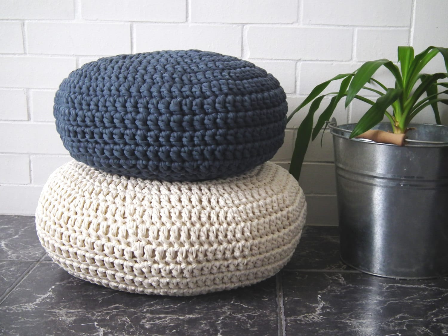Crochet Floor Cushion-Meditation Floor Pillow-Stuffed Zafu