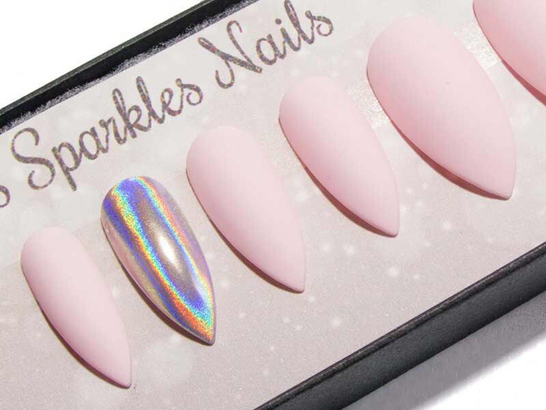 Matte fake nails stiletto press on nails pointy glue on zoom prinsesfo Choice Image
