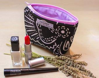 Black and white small zipper pouch. Lavender pouch. Lipstick case. Small makeup bag. Coin purse. Mini zipper. Little cosmetic pouch.