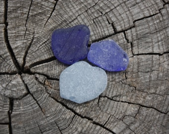 blue sea glass pieces, genuine beach glass, supplies