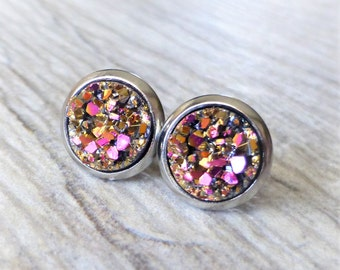 Magenta Gold Druzy Stud Earrings, Faux Drusy Post Earrings, 10mm Round Stainless Steel Studs, Gift For Her, Small Dainty Studs
