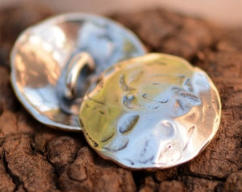 Rustic Texture Organic Sterling Silver Button Clasp