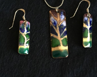 Cloisonne Necklace and Earring Set, Enamel Tree of Life on Copper, 925 Earring Wires