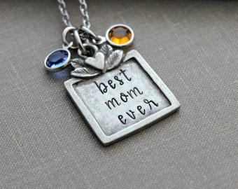 best mom ever necklace - Personalized name with Swarovski crystal birthstones - pewter and stainless steel - Mother's Day gift idea