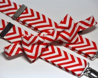 Boy's Bow Tie and Suspenders, Bowtie, Suspenders, Red and White Chevron, Chevron Bow tie, Chevron Suspenders, Christmas, Holiday, Baby Tie